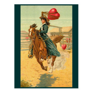 Postcards - Valentine cowgirl horse lasso heart