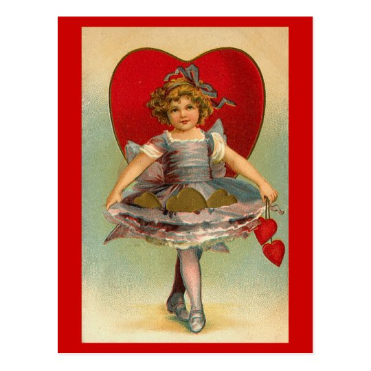 Postcards Valentine's Victorian Little Girl Hearts