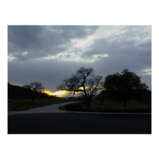 Poster:-A Bend in a Country Road at Sunset