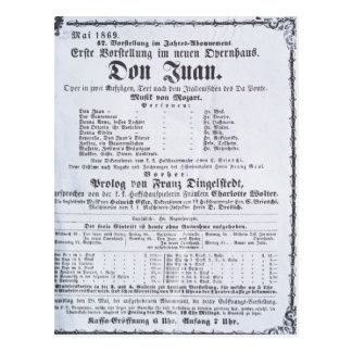 Poster advertising a performance of 'Don Juan' Postcard