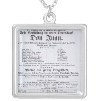 Poster advertising a performance of 'Don Juan' Silver Plated Necklace