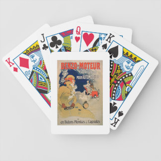 Poster advertising 'Benzo-Moteur' Motor Oil Especi Bicycle Playing Cards