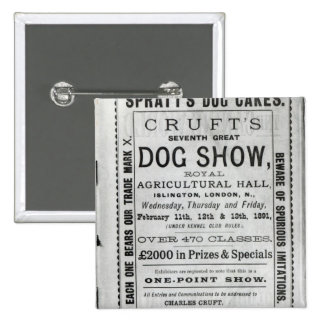 Poster advertising Cruft's Dog Show 15 Cm Square Badge