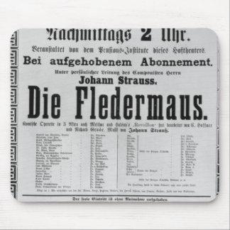 Poster advertising Die Fledermaus by Johann Mouse Mat