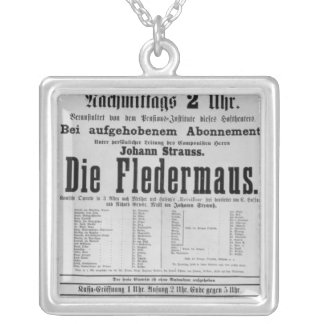 Poster advertising Die Fledermaus by Johann Square Pendant Necklace