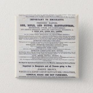 Poster advertising emigrant services 15 cm square badge