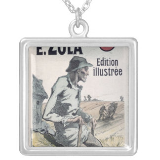 Poster advertising 'La Terre' by Emile Zola, 1889 Square Pendant Necklace
