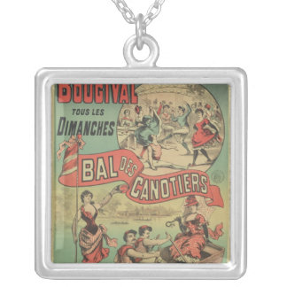 Poster advertising 'Le Bal des Canotiers' Silver Plated Necklace