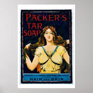 Poster advertising 'Packer's Tar Soap' (colour lit