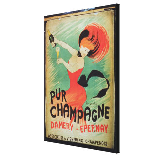 Poster advertising 'Pur Champagne', from Damery, E Canvas Print