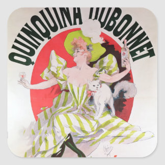 Poster advertising Quinquina Dubonnet' Square Sticker