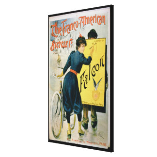 Poster advertising 'The Franco-American Bicycle Co Canvas Print