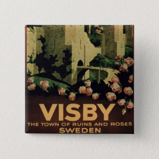 Poster advertising the town of Visby, Sweden (colo 15 Cm Square Badge