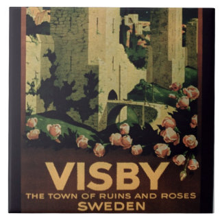 Poster advertising the town of Visby, Sweden (colo Tile