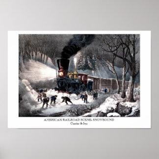Poster - AMERICAN RAILROAD SCENE: SNOWBOUND
