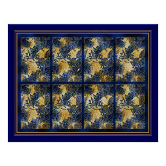 Poster Art Blue Floral Panel Posters