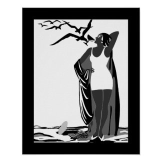 Poster ART DECO LADY Black White birds