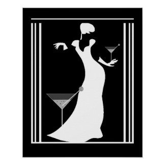 Poster ART DECO LADY Black White Reverted