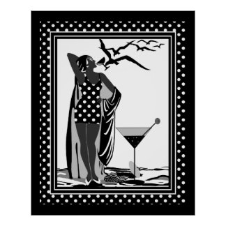 Poster ART DECO LADY Black White spots