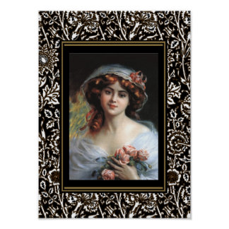 Poster Art Vintage Lady With Pink Roses