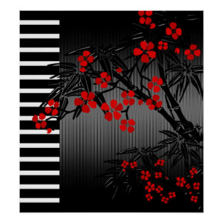 Poster Asian Red Black White Bamboo Floral