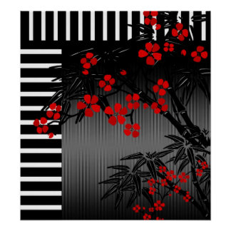 Poster Asian Red Black White Bamboo Floral 3