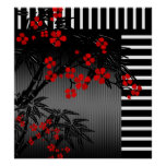 Poster Asian Red Black White Bamboo Floral 4