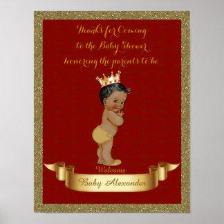 Poster Baby Shower BOY, red, frame glitter, gold.