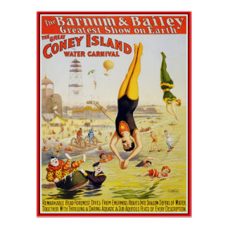 Poster Barnum & Bailey Circus Water Coney Island