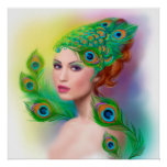 poster Beautiful Fashion spring woman Peacock