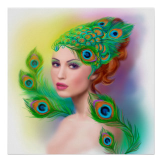 poster Beautiful Fashion spring woman Peacock
