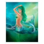 Poster-Beautiful mermaid at ocean on waves Poster