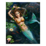 Poster-Beautiful mermaid in lake with lilies Poster