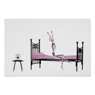 Poster - Bedtime X-Ray Skeleton Pink