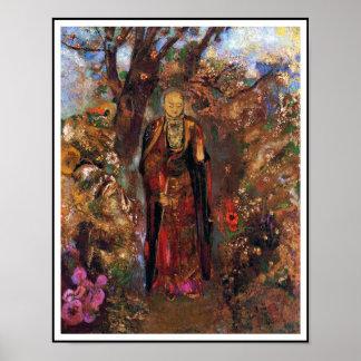 Poster: Buddha Walking Among the Flowers