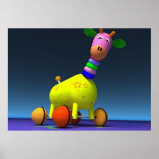 Poster coloured giraffe