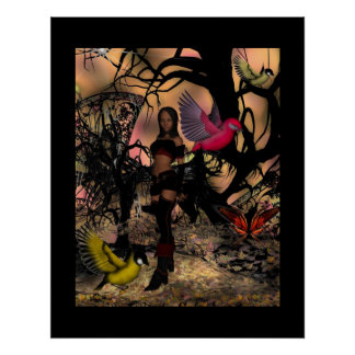 Poster Fantasy Art Elf Girl Birds
