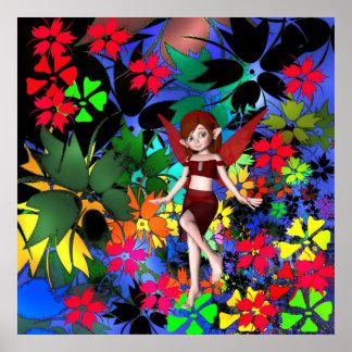 Poster Fantasy Art Pixie Girl Flowers