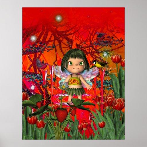 Poster Fantasy Art Strawberry Angel Girl