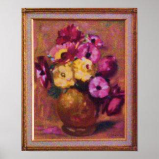 Poster, Flowers in Brass Vase Poster