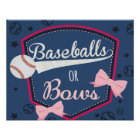 poster gender reveal - baseball or bows