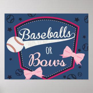 poster gender reveal - baseball or bows