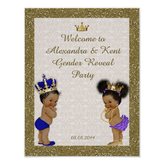 Poster Gender Reveal Party, gold, Glitter