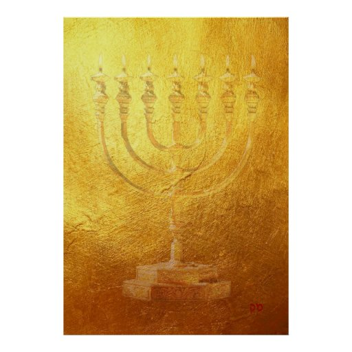 Poster Golden Menorah Judaica