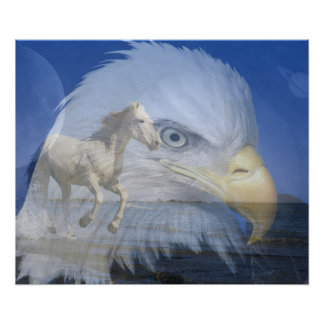 Poster/Horse and Bald Eagle in Space Poster