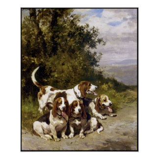 Poster: Hunting Dogs - Vintage Dog Art by de Penne Poster