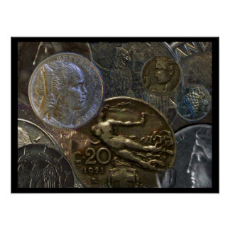 Poster - Italian Coin Salad Decor with 5 Lire 1950