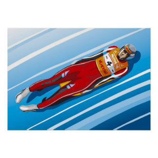 Poster Luge Racer Winter Sport