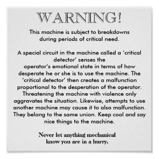 Poster - Machine Breakdown Warning