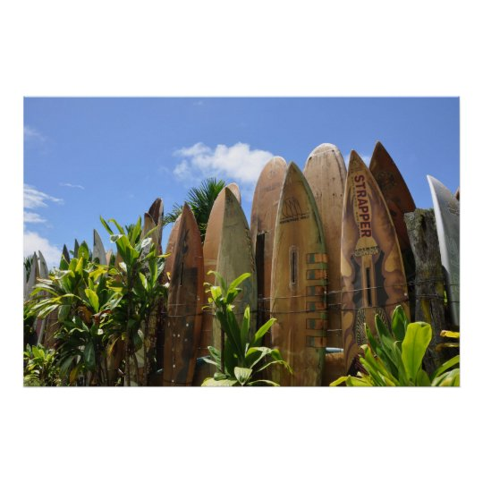 Poster Maui Surfboard fence